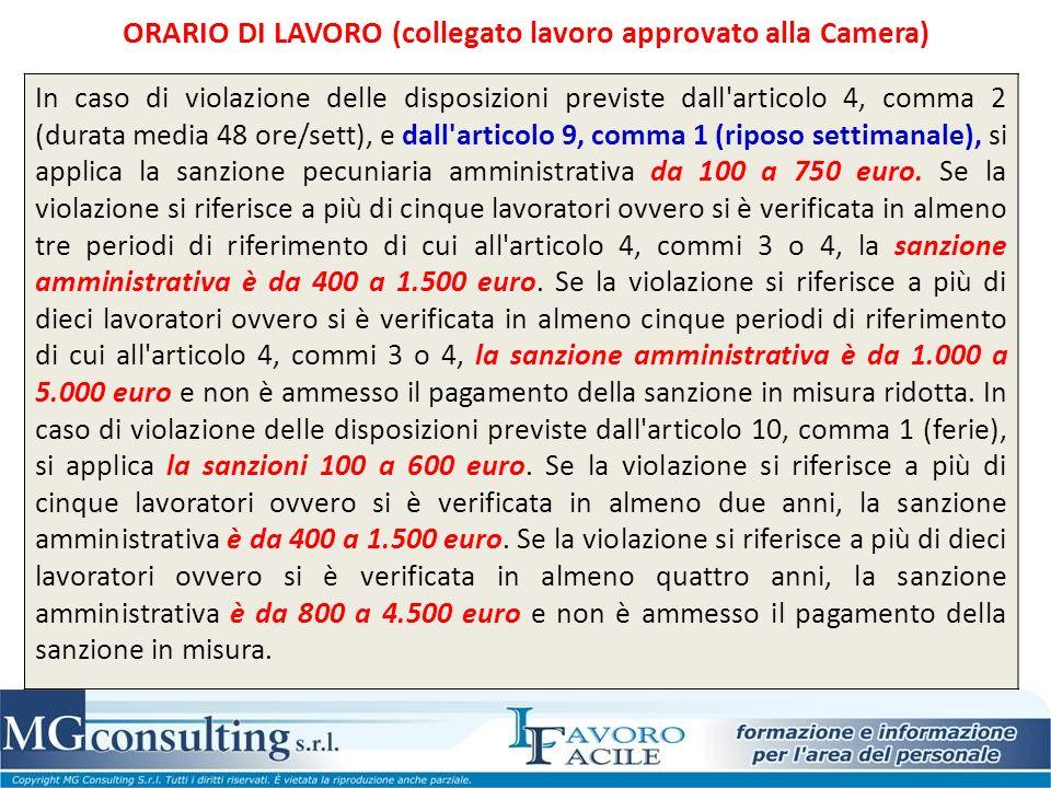 In caso di violazione delle disposizioni previste dall articolo 4, comma 2 (durata media 48 ore/sett), e dall articolo 9, comma 1 (riposo settimanale), si applica la sanzione pecuniaria amministrativa da 100 a 750 euro.