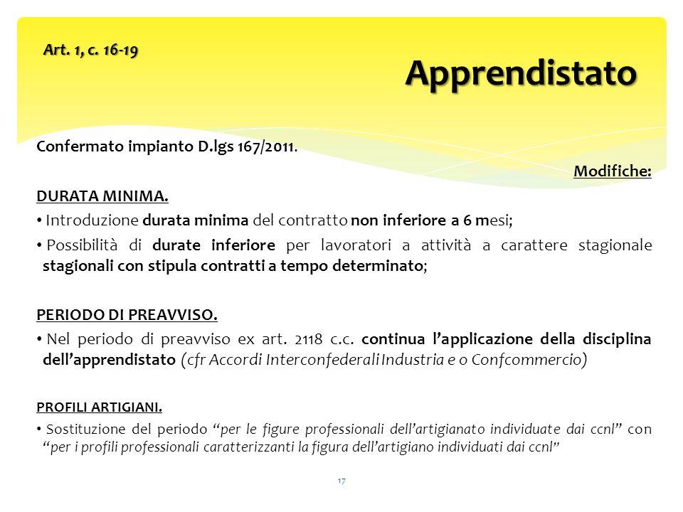 Confermato impianto D.lgs 167/2011.Modifiche: DURATA MINIMA.