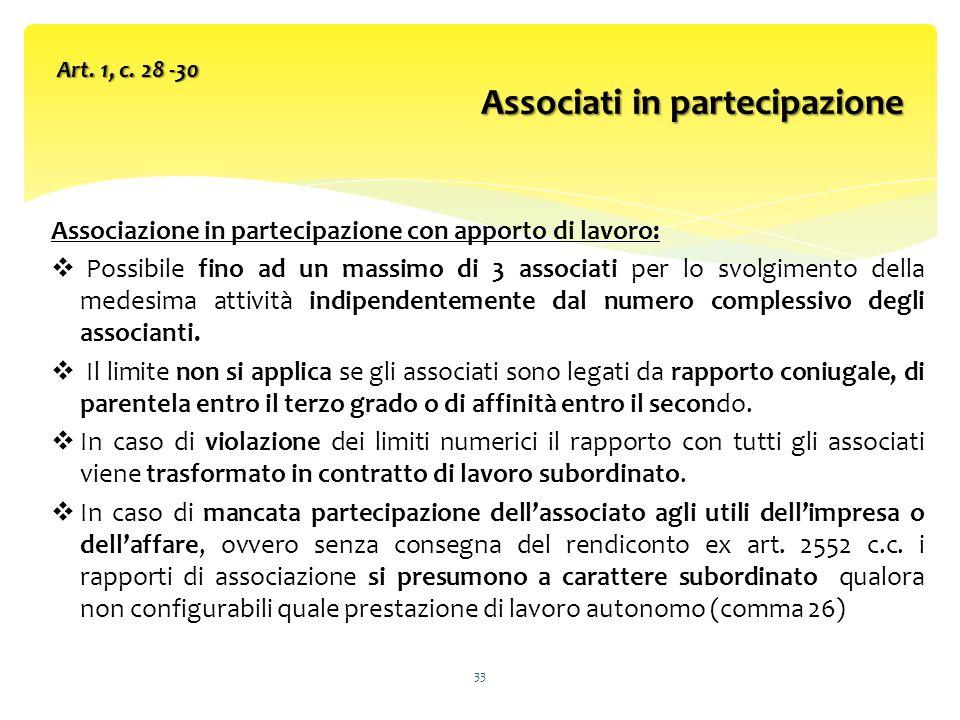 Associazione in partecipazione con apporto di lavoro: Possibile fino ad un massimo di 3 associati per lo svolgimento della medesima attività indipendentemente dal numero complessivo degli associanti.