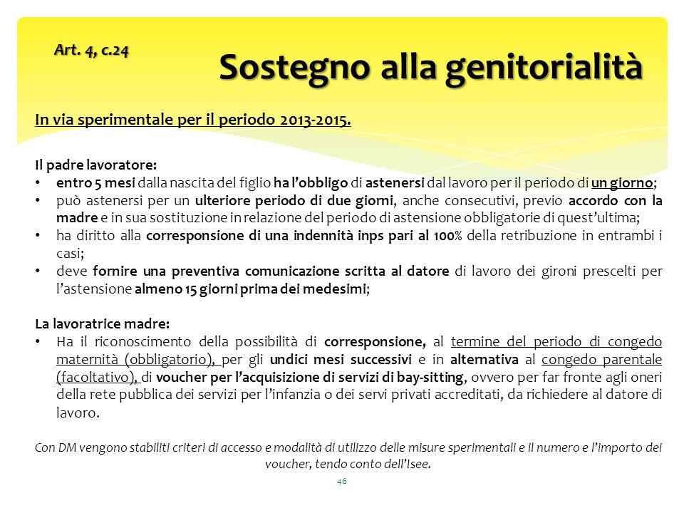 Sostegno alla genitorialità 46 Art.4, c.24 In via sperimentale per il periodo 2013-2015.
