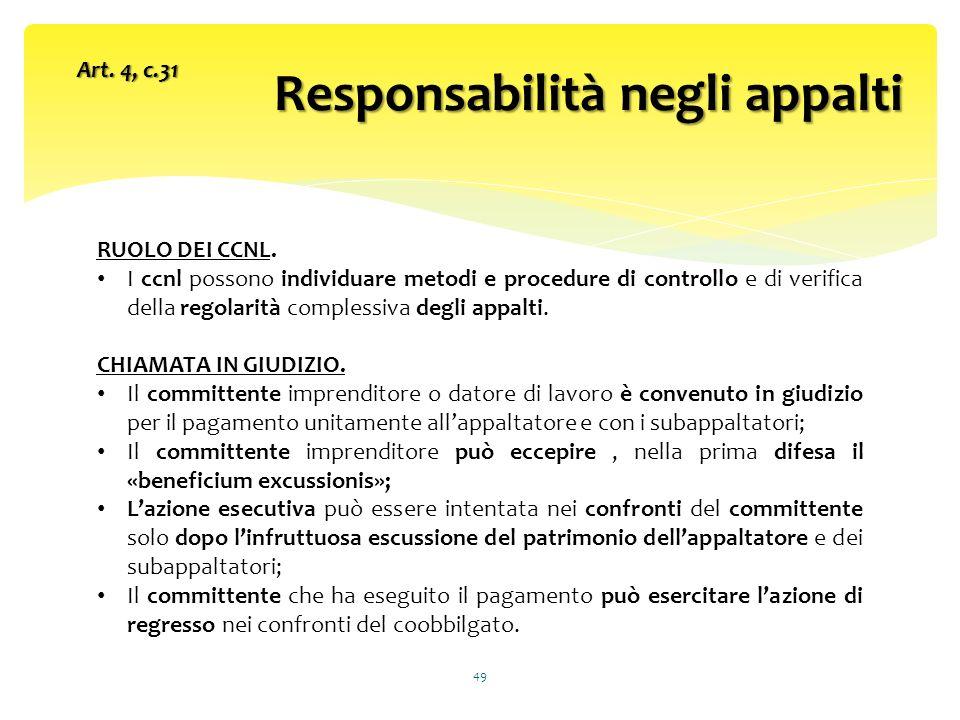 Responsabilità negli appalti 49 Art.4, c.31 RUOLO DEI CCNL.