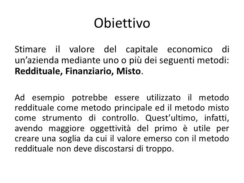 Obiettivo Stimare il valore del capitale economico di unazienda mediante uno o più dei seguenti metodi: Reddituale, Finanziario, Misto.