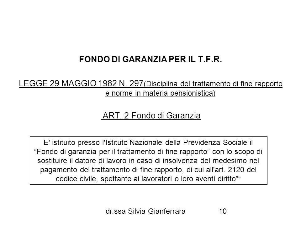 dr.ssa Silvia Gianferrara10 FONDO DI GARANZIA PER IL T.F.R. LEGGE 29 MAGGIO 1982 N. 297 (Disciplina del trattamento di fine rapporto e norme in materi