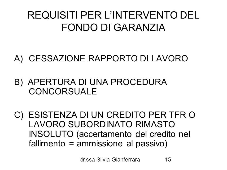 dr.ssa Silvia Gianferrara15 REQUISITI PER LINTERVENTO DEL FONDO DI GARANZIA A)CESSAZIONE RAPPORTO DI LAVORO B) APERTURA DI UNA PROCEDURA CONCORSUALE C