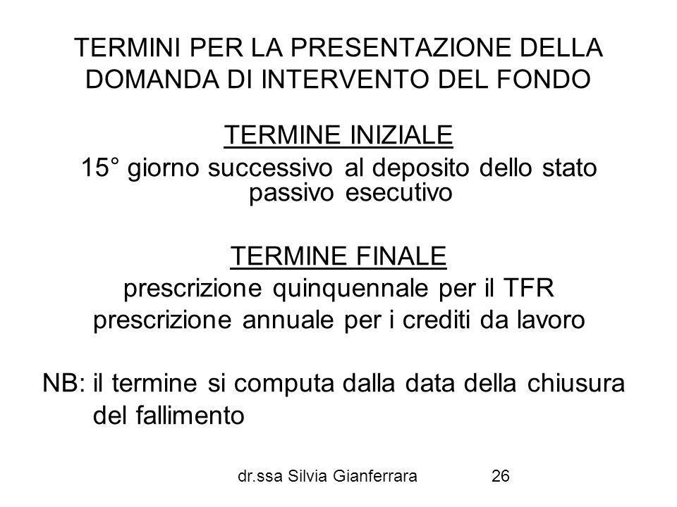 dr.ssa Silvia Gianferrara26 TERMINI PER LA PRESENTAZIONE DELLA DOMANDA DI INTERVENTO DEL FONDO TERMINE INIZIALE 15° giorno successivo al deposito dell
