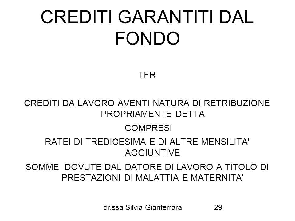 dr.ssa Silvia Gianferrara29 CREDITI GARANTITI DAL FONDO TFR CREDITI DA LAVORO AVENTI NATURA DI RETRIBUZIONE PROPRIAMENTE DETTA COMPRESI RATEI DI TREDI