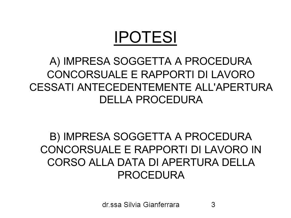 dr.ssa Silvia Gianferrara14 CREDITI RILEVANTI PER IL FONDO DI GARANZIA Data prima istanza fallimento 20/9/2007 Dodici mesi antecedenti la data della prima istanza di fallimento 21/9/2006-20/9/2007 Ultimi 90 giorni rientranti nel periodo 21/9/2006-20/9/2007 es: licenziamento in aprile 2007 periodo utile: febbraio marzo aprile 2007