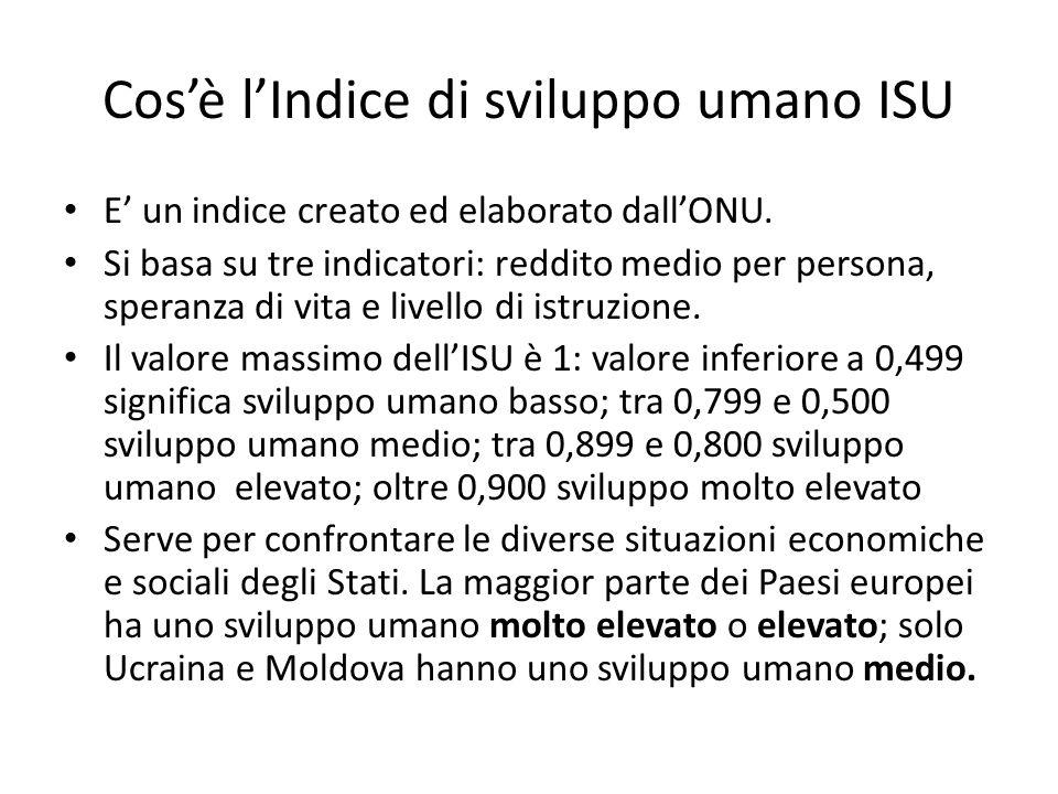 Cosè lIndice di sviluppo umano ISU E un indice creato ed elaborato dallONU.