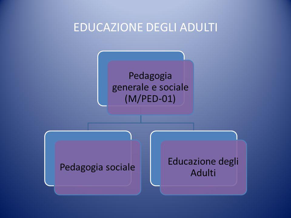 EDUCAZIONE DEGLI ADULTI Pedagogia generale e sociale (M/PED-01) Pedagogia sociale Educazione degli Adulti