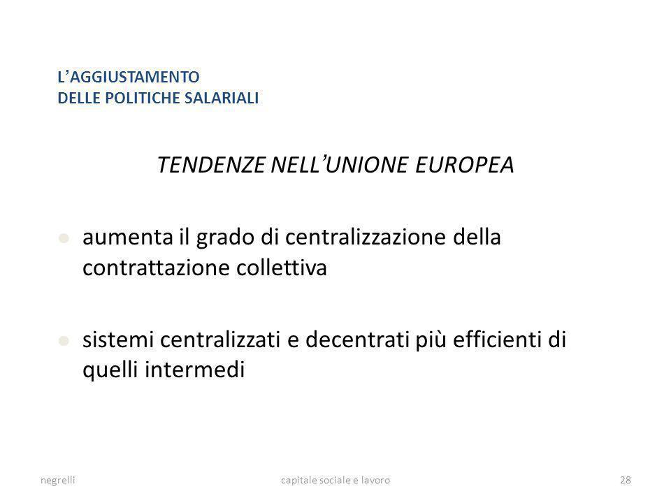 negrellicapitale sociale e lavoro L AGGIUSTAMENTO DELLE POLITICHE SALARIALI TENDENZE NELL UNIONE EUROPEA aumenta il grado di centralizzazione della co