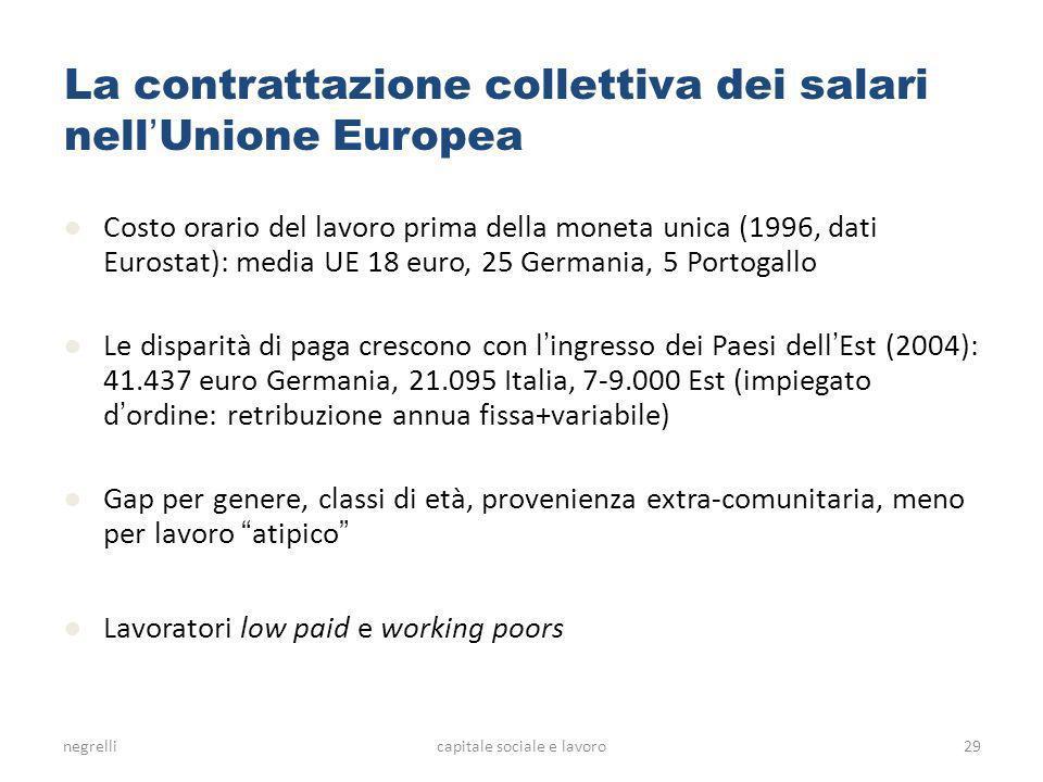 negrellicapitale sociale e lavoro La contrattazione collettiva dei salari nell Unione Europea Costo orario del lavoro prima della moneta unica (1996, dati Eurostat): media UE 18 euro, 25 Germania, 5 Portogallo Le disparità di paga crescono con l ingresso dei Paesi dell Est (2004): 41.437 euro Germania, 21.095 Italia, 7-9.000 Est (impiegato d ordine: retribuzione annua fissa+variabile) Gap per genere, classi di età, provenienza extra-comunitaria, meno per lavoro atipico Lavoratori low paid e working poors 29