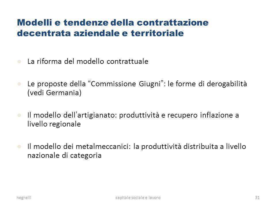 negrellicapitale sociale e lavoro Modelli e tendenze della contrattazione decentrata aziendale e territoriale La riforma del modello contrattuale Le p