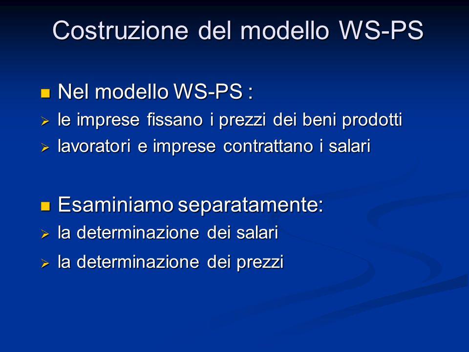 Costruzione del modello WS-PS Nel modello WS-PS : Nel modello WS-PS : le imprese fissano i prezzi dei beni prodotti le imprese fissano i prezzi dei be