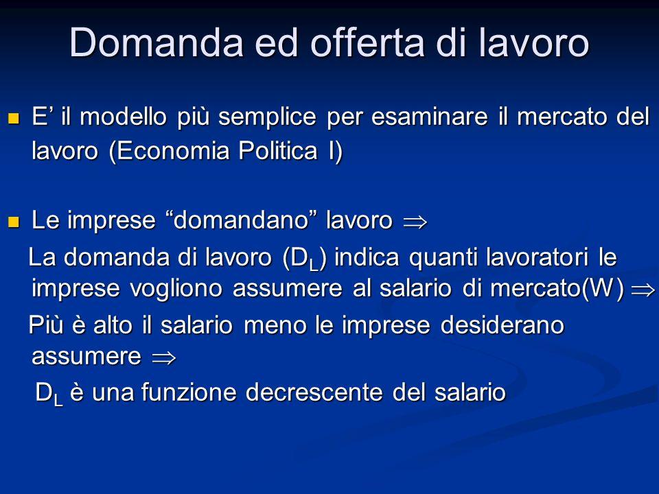 Domanda ed offerta di lavoro E il modello più semplice per esaminare il mercato del lavoro (Economia Politica I) E il modello più semplice per esamina