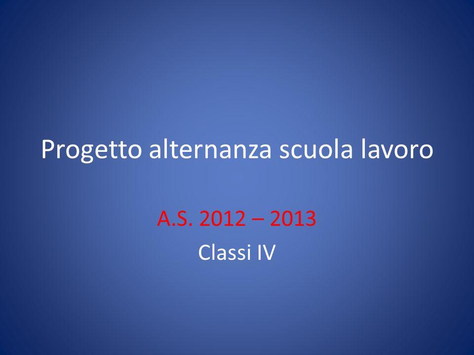 Progetto alternanza scuola lavoro A.S. 2012 – 2013 Classi IV