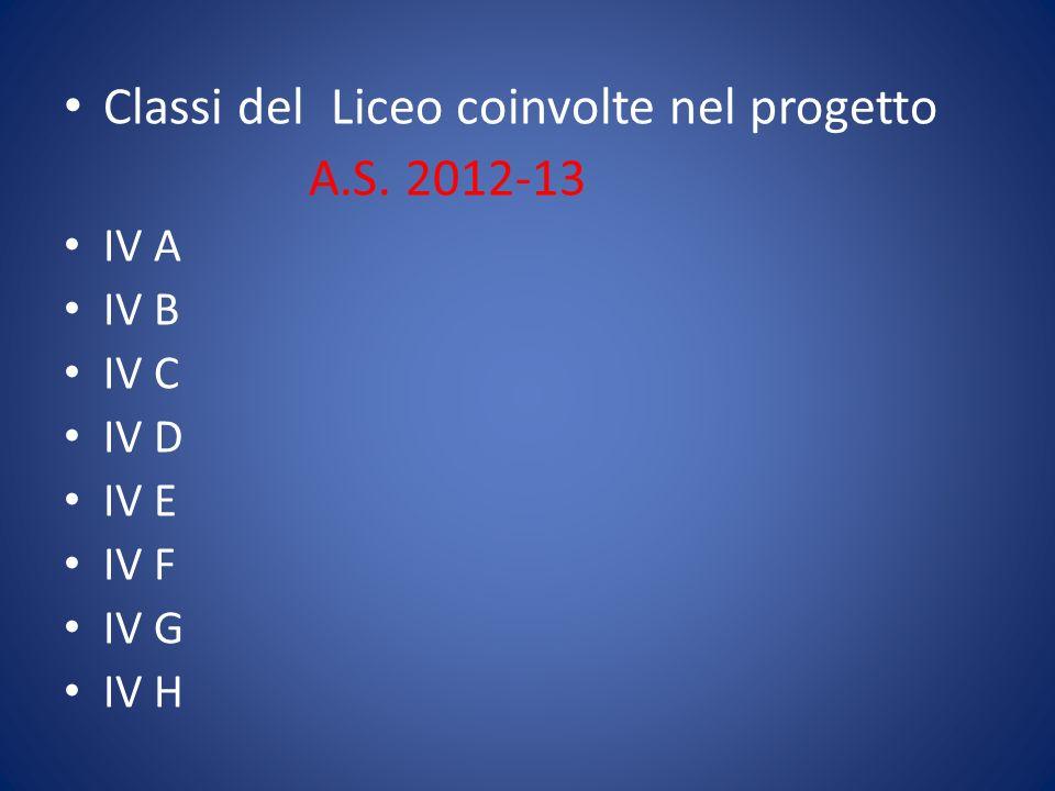 Classi del Liceo coinvolte nel progetto A.S. 2012-13 IV A IV B IV C IV D IV E IV F IV G IV H