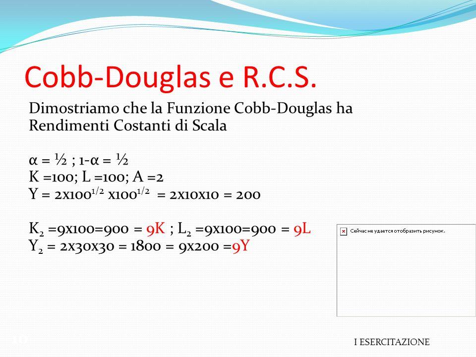 I ESERCITAZIONE 10 Cobb-Douglas e R.C.S. Dimostriamo che la Funzione Cobb-Douglas ha Rendimenti Costanti di Scala α = ½ ; 1-α = ½ K =100; L =100; A =2