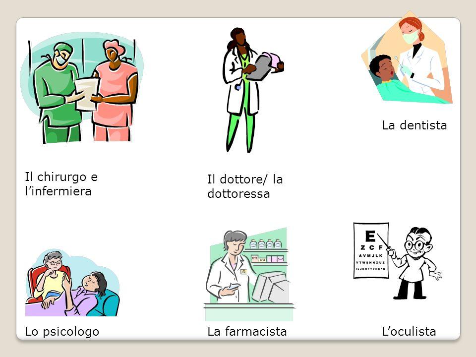 Il chirurgo e linfermiera Il dottore/ la dottoressa La dentista LoculistaLo psicologoLa farmacista
