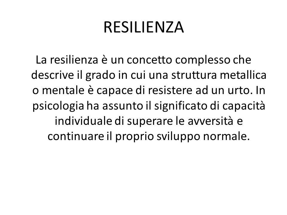 RESILIENZA La resilienza è un concetto complesso che descrive il grado in cui una struttura metallica o mentale è capace di resistere ad un urto.