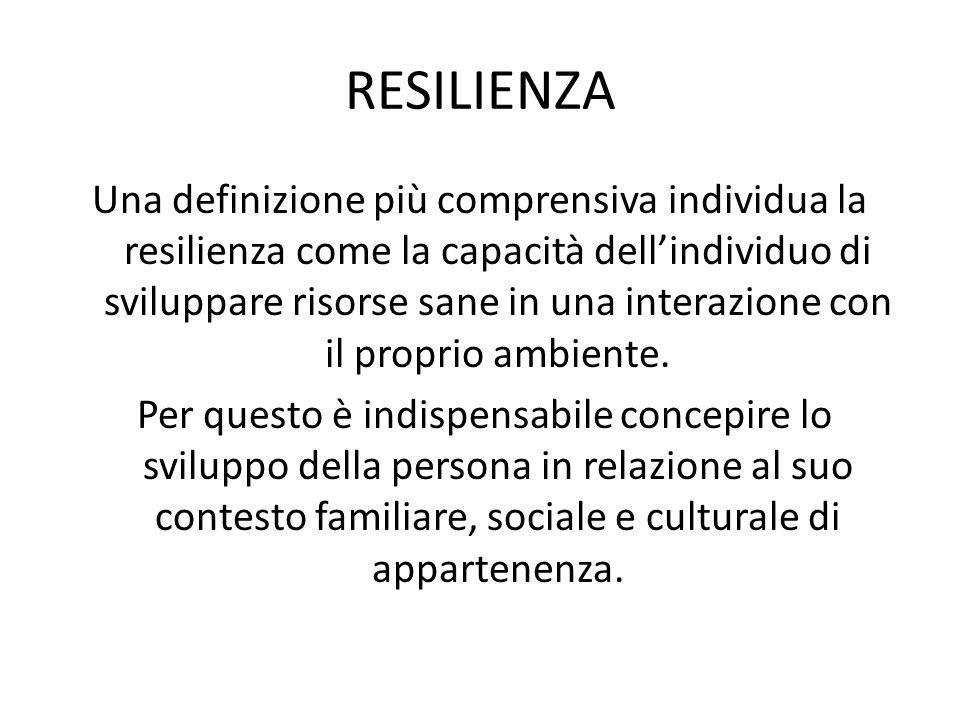 RESILIENZA Una definizione più comprensiva individua la resilienza come la capacità dellindividuo di sviluppare risorse sane in una interazione con il proprio ambiente.