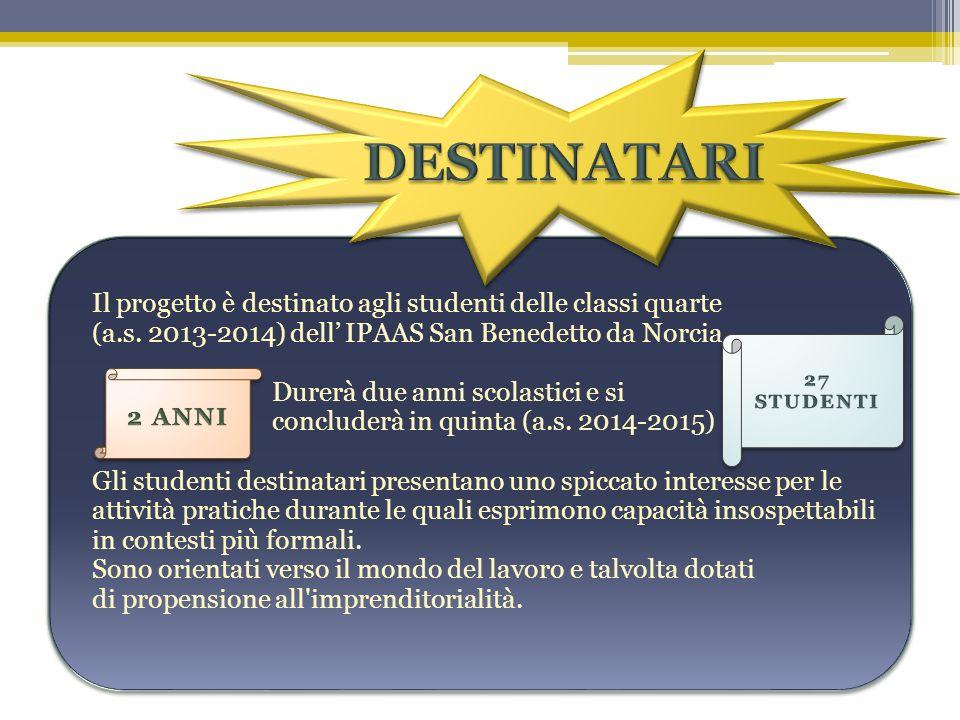 Il progetto è destinato agli studenti delle classi quarte (a.s. 2013-2014) dell IPAAS San Benedetto da Norcia. Durerà due anni scolastici e si conclud