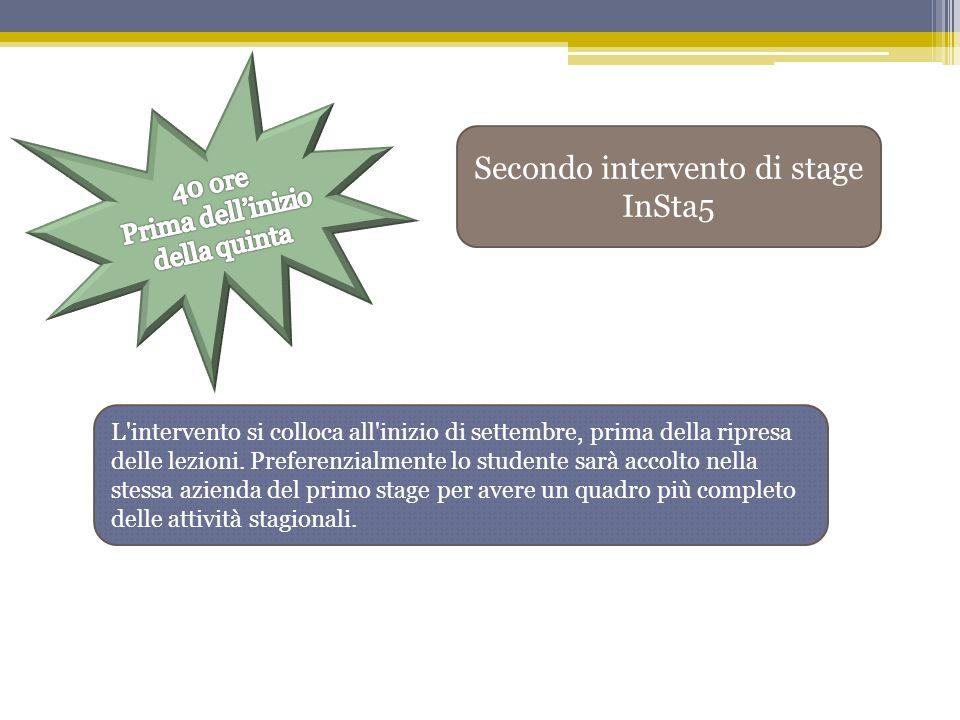 Secondo intervento di stage InSta5 L'intervento si colloca all'inizio di settembre, prima della ripresa delle lezioni. Preferenzialmente lo studente s