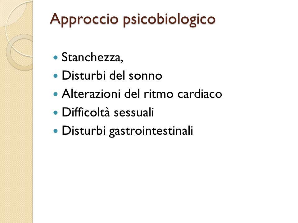 Approccio psicobiologico Stanchezza, Disturbi del sonno Alterazioni del ritmo cardiaco Difficoltà sessuali Disturbi gastrointestinali