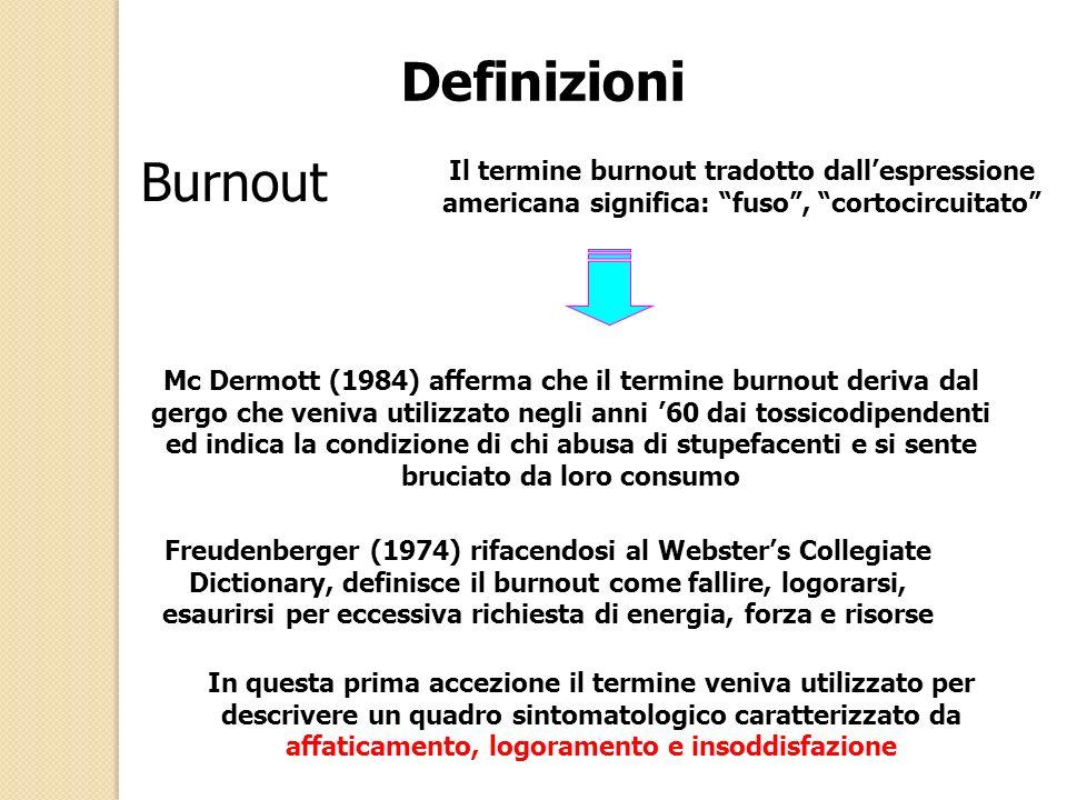 Definizioni Burnout Il termine burnout tradotto dallespressione americana significa: fuso, cortocircuitato Mc Dermott (1984) afferma che il termine burnout deriva dal gergo che veniva utilizzato negli anni 60 dai tossicodipendenti ed indica la condizione di chi abusa di stupefacenti e si sente bruciato da loro consumo Freudenberger (1974) rifacendosi al Websters Collegiate Dictionary, definisce il burnout come fallire, logorarsi, esaurirsi per eccessiva richiesta di energia, forza e risorse In questa prima accezione il termine veniva utilizzato per descrivere un quadro sintomatologico caratterizzato da affaticamento, logoramento e insoddisfazione