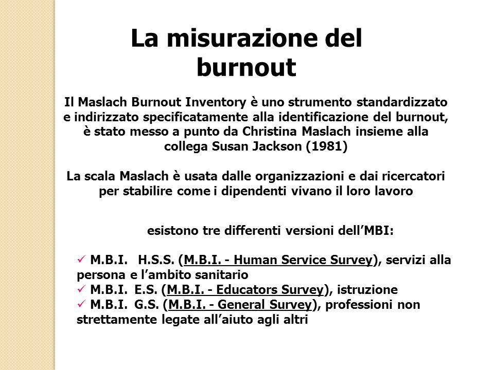 La misurazione del burnout Il Maslach Burnout Inventory è uno strumento standardizzato e indirizzato specificatamente alla identificazione del burnout, è stato messo a punto da Christina Maslach insieme alla collega Susan Jackson (1981) La scala Maslach è usata dalle organizzazioni e dai ricercatori per stabilire come i dipendenti vivano il loro lavoro esistono tre differenti versioni dellMBI: M.B.I.