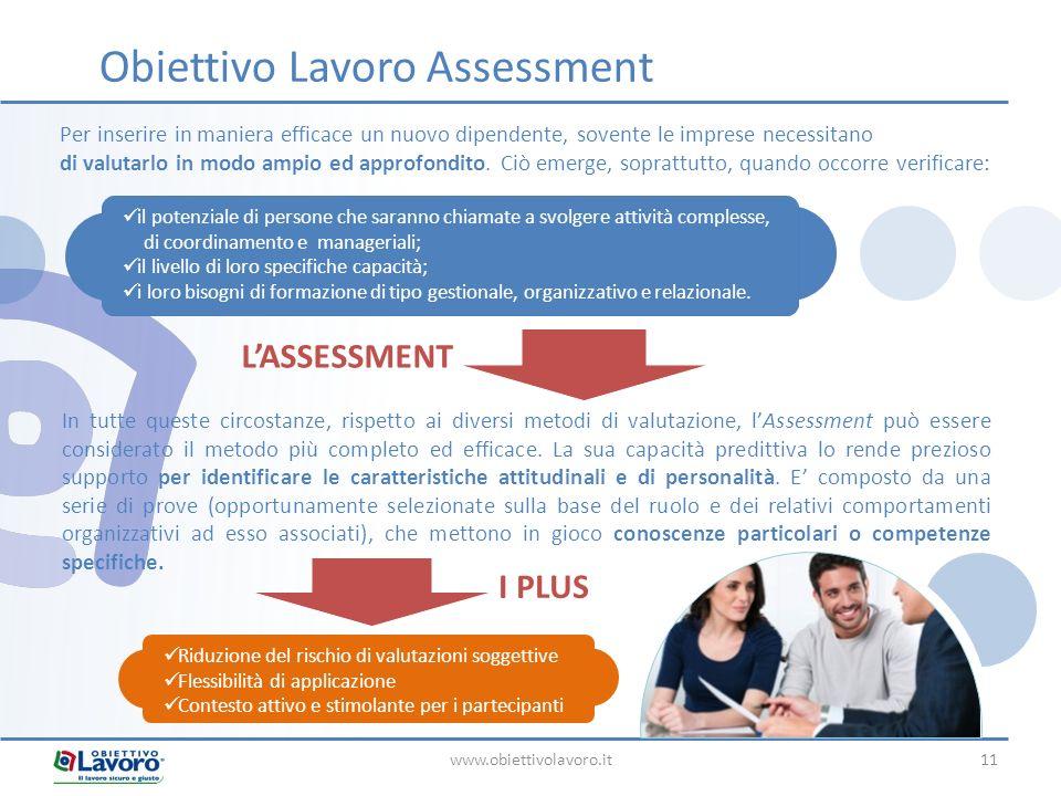 www.obiettivolavoro.it11 Obiettivo Lavoro Assessment Per inserire in maniera efficace un nuovo dipendente, sovente le imprese necessitano di valutarlo