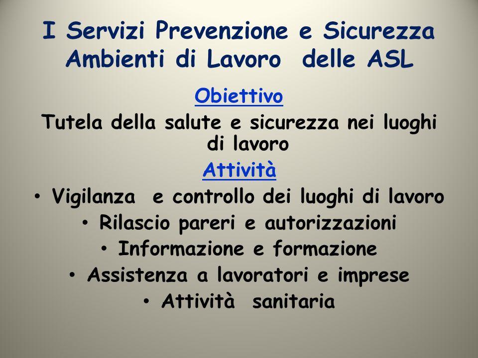 I Servizi Prevenzione e Sicurezza Ambienti di Lavoro delle ASL Obiettivo Tutela della salute e sicurezza nei luoghi di lavoro Attività Vigilanza e con