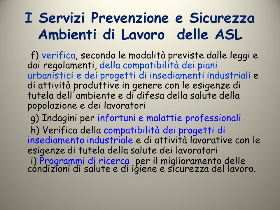 I Servizi Prevenzione e Sicurezza Ambienti di Lavoro delle ASL f) verifica, secondo le modalità previste dalle leggi e dai regolamenti, della compatib