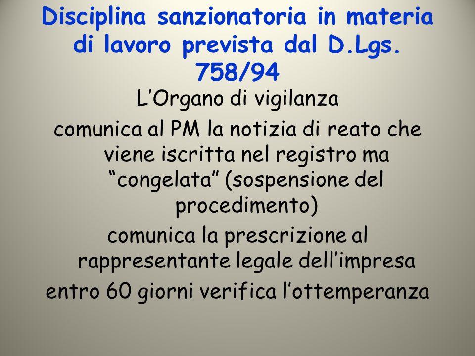 Disciplina sanzionatoria in materia di lavoro prevista dal D.Lgs. 758/94 LOrgano di vigilanza comunica al PM la notizia di reato che viene iscritta ne