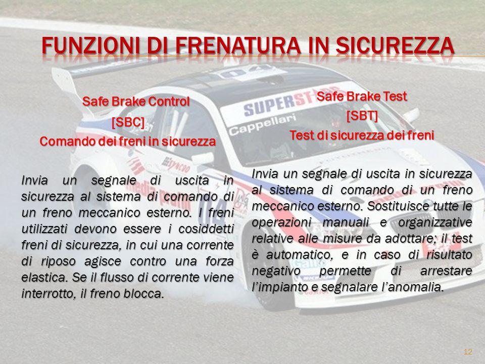 Safe Brake Control Safe Brake Control[SBC] Comando dei freni in sicurezza Invia un segnale di uscita in sicurezza al sistema di comando di un freno meccanico esterno.