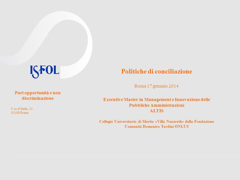Politiche di conciliazione Roma 17 gennaio 2014 Executive Master in Management e Innovazione delle Pubbliche Amministrazioni ALTIS Collegio Universita