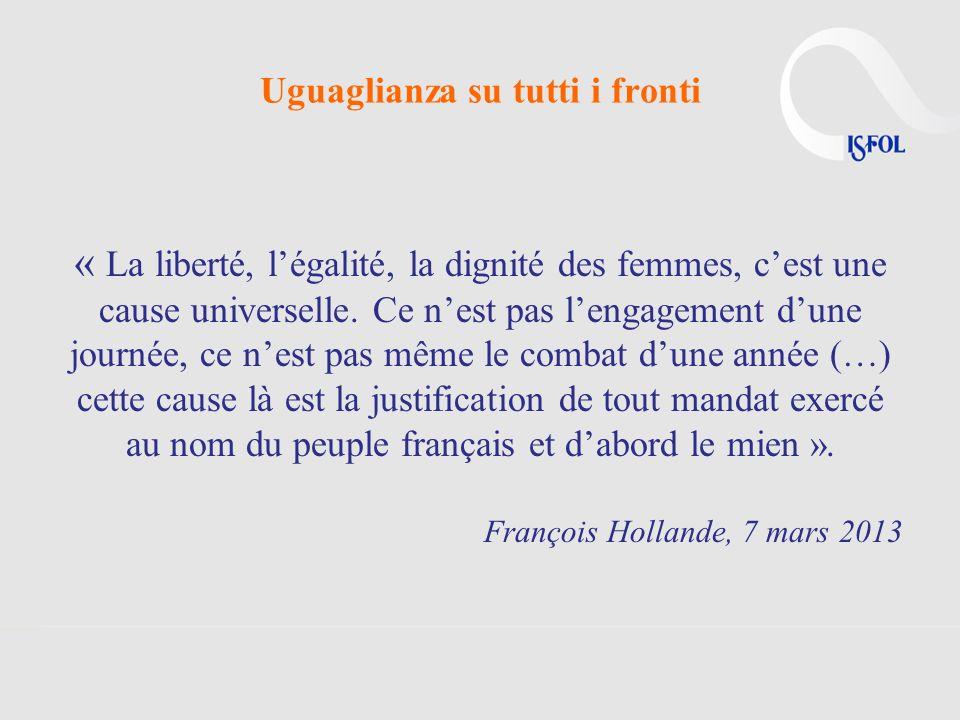 Uguaglianza su tutti i fronti « La liberté, légalité, la dignité des femmes, cest une cause universelle. Ce nest pas lengagement dune journée, ce nest
