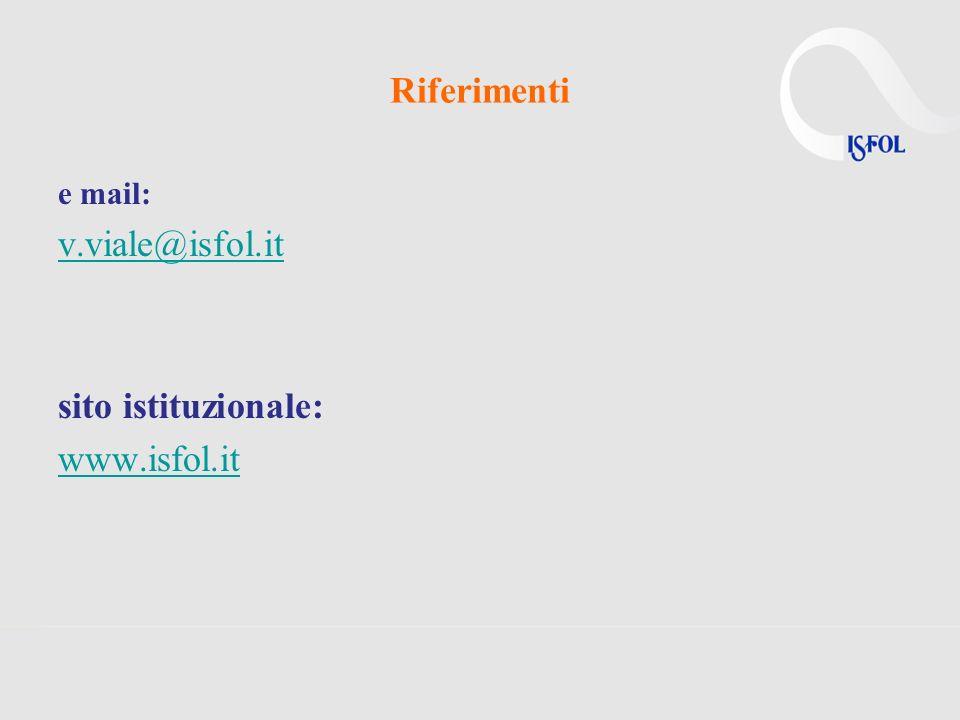 Riferimenti e mail: v.viale@isfol.it sito istituzionale: www.isfol.it
