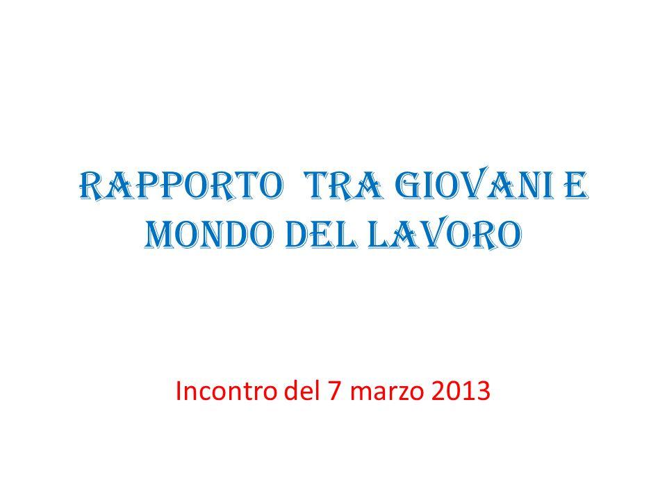 Rapporto tra giovani e mondo del lavoro Incontro del 7 marzo 2013