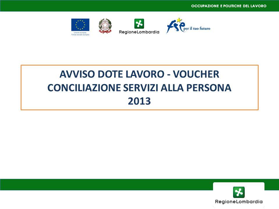 OCCUPAZIONE E POLITICHE DEL LAVORO AVVISO DOTE LAVORO - VOUCHER CONCILIAZIONE SERVIZI ALLA PERSONA 2013