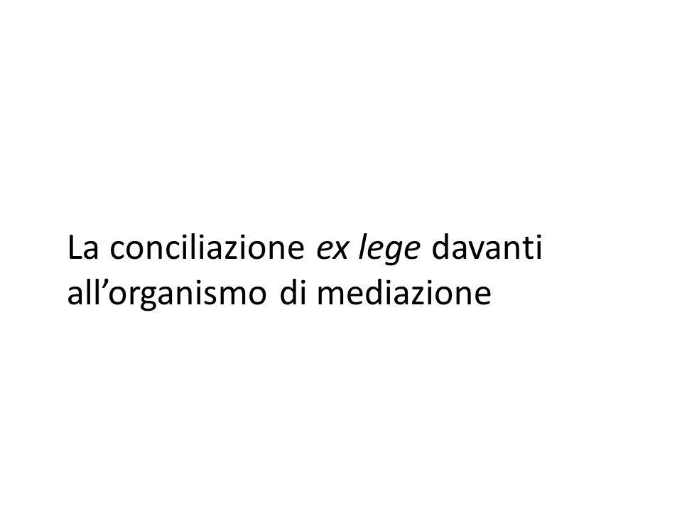 La conciliazione ex lege davanti allorganismo di mediazione