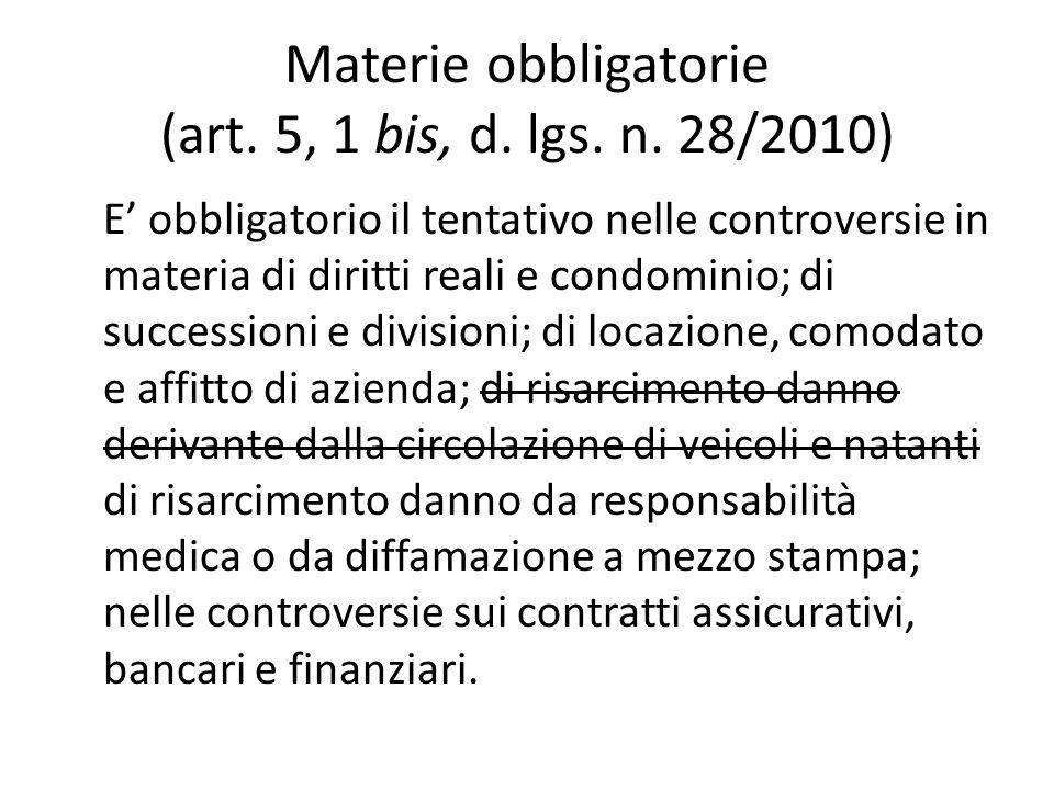 Materie obbligatorie (art. 5, 1 bis, d. lgs. n.