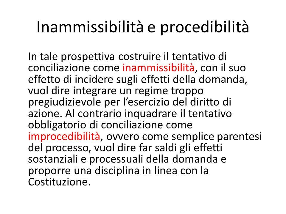 Inammissibilità e procedibilità In tale prospettiva costruire il tentativo di conciliazione come inammissibilità, con il suo effetto di incidere sugli effetti della domanda, vuol dire integrare un regime troppo pregiudizievole per lesercizio del diritto di azione.