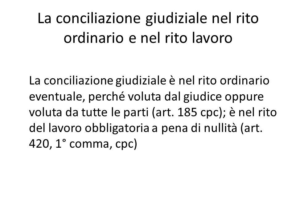 La conciliazione giudiziale nel rito ordinario e nel rito lavoro La conciliazione giudiziale è nel rito ordinario eventuale, perché voluta dal giudice oppure voluta da tutte le parti (art.