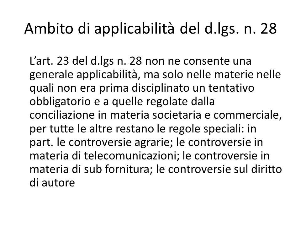 Ambito di applicabilità del d.lgs. n. 28 Lart. 23 del d.lgs n.