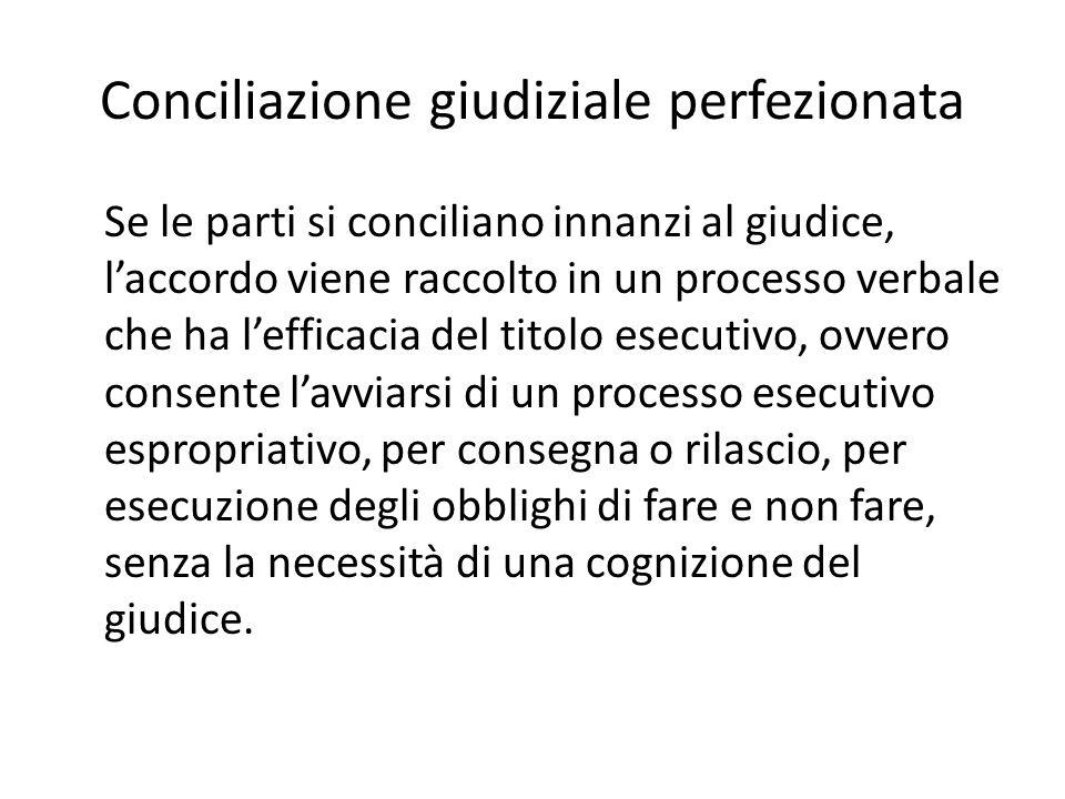 Conciliazione giudiziale non perfezionata Se innanzi al giudice le parti non si conciliano, ad un certo tipo di comportamento della parte nel tentativo, il legislatore offre efficacia ai fini del merito: - nel rito ordinario (art.