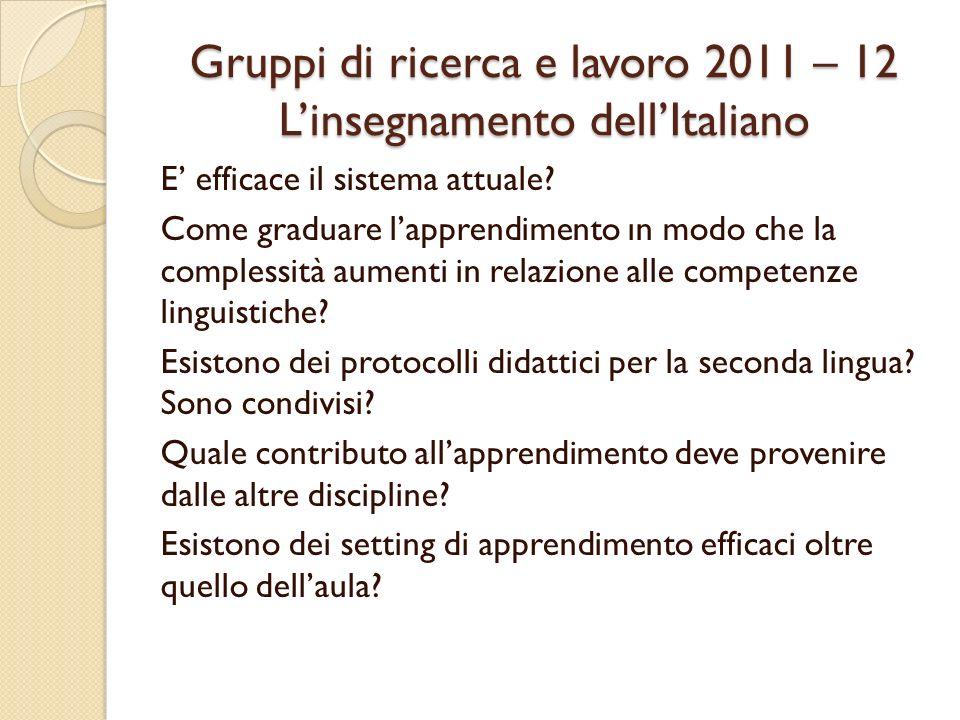 Gruppi di ricerca e lavoro 2011 – 12 Linsegnamento dellItaliano E efficace il sistema attuale.