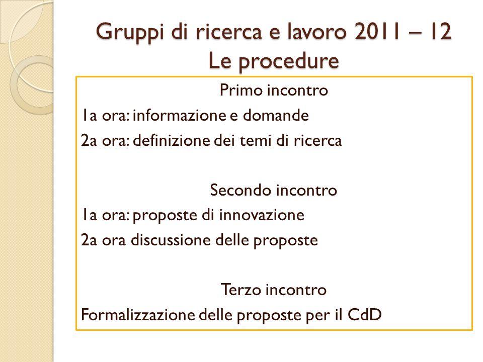 Gruppi di ricerca e lavoro 2011 – 12 Le procedure Primo incontro 1a ora: informazione e domande 2a ora: definizione dei temi di ricerca Secondo incontro 1a ora: proposte di innovazione 2a ora discussione delle proposte Terzo incontro Formalizzazione delle proposte per il CdD