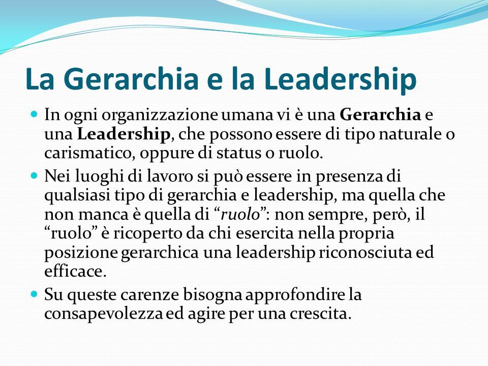La Gerarchia e la Leadership In ogni organizzazione umana vi è una Gerarchia e una Leadership, che possono essere di tipo naturale o carismatico, oppure di status o ruolo.
