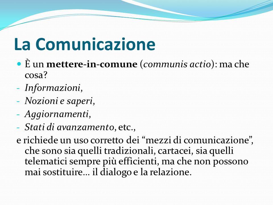 La Comunicazione È un mettere-in-comune (communis actio): ma che cosa.