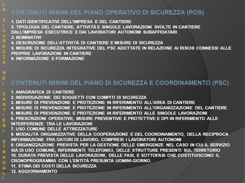 CONTENUTI MINIMI DEL PIANO OPERATIVO DI SICUREZZA (POS) CONTENUTI MINIMI DEL PIANO DI SICUREZZA E COORDINAMENTO (PSC) 1. ANAGRAFICA DI CANTIERE 2. IND